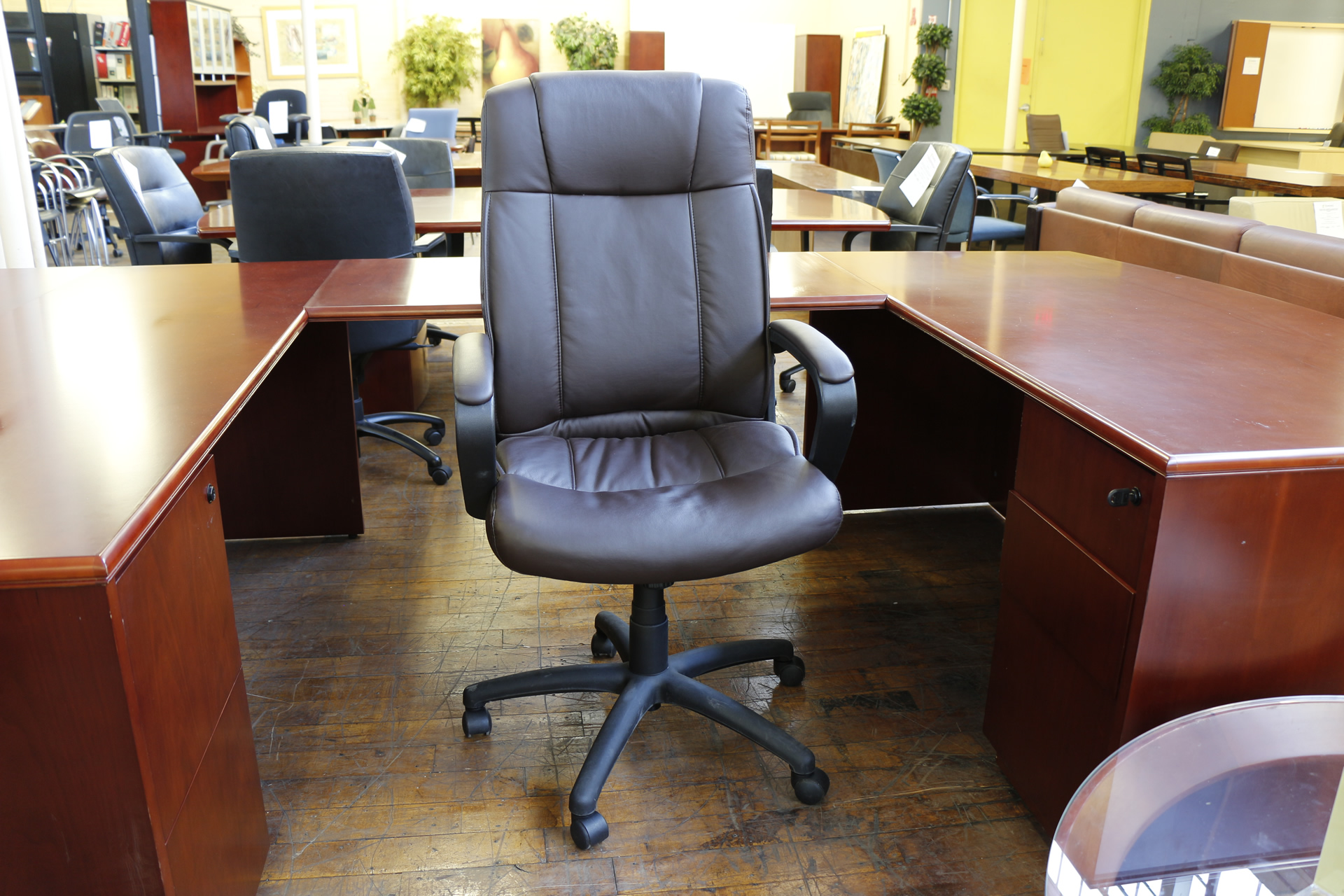 brown leather hi back executive chair peartree office furniture