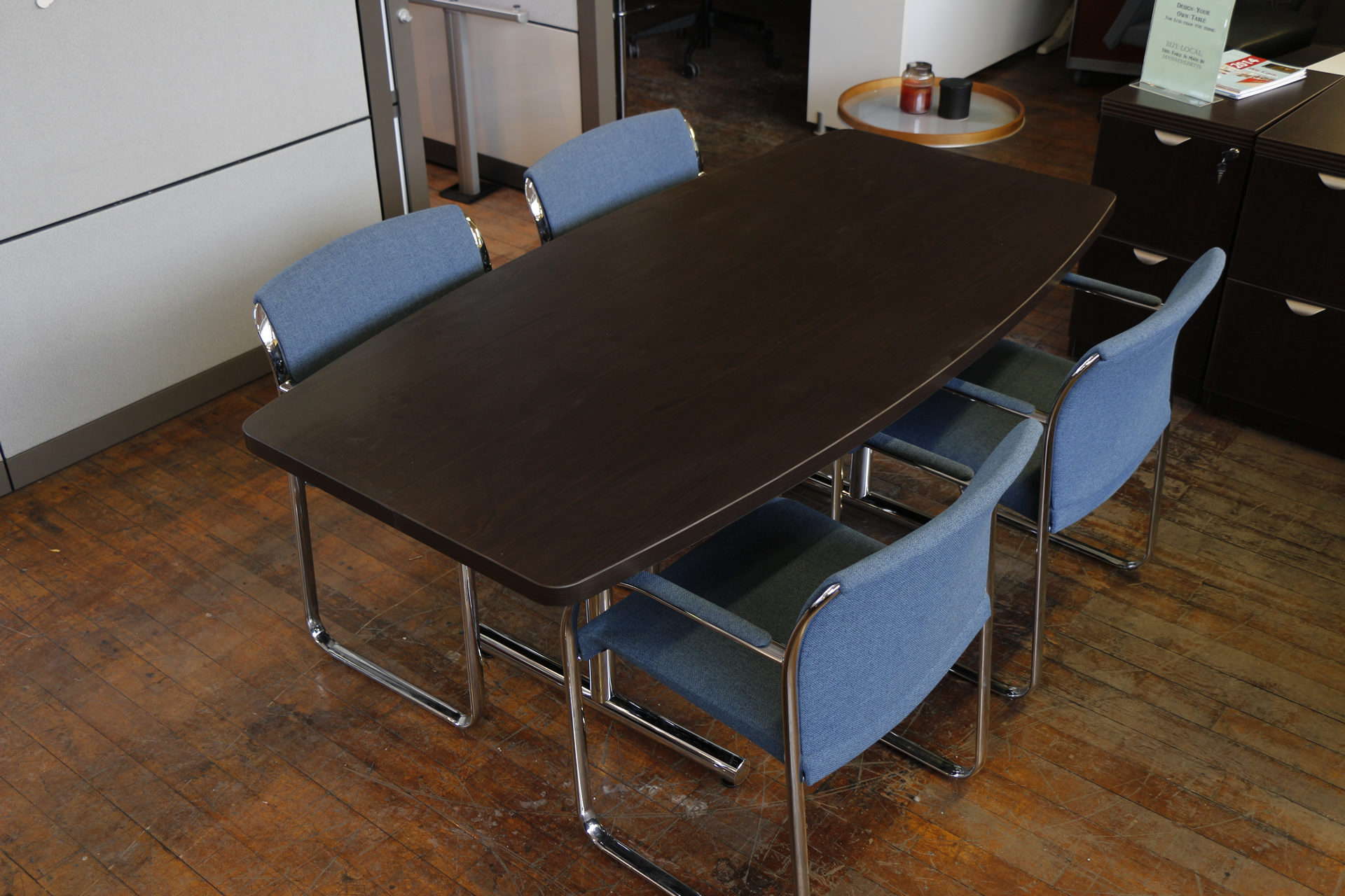 Warren Series 6′ Boat Shaped Espresso Conference Table with Chrome Legs
