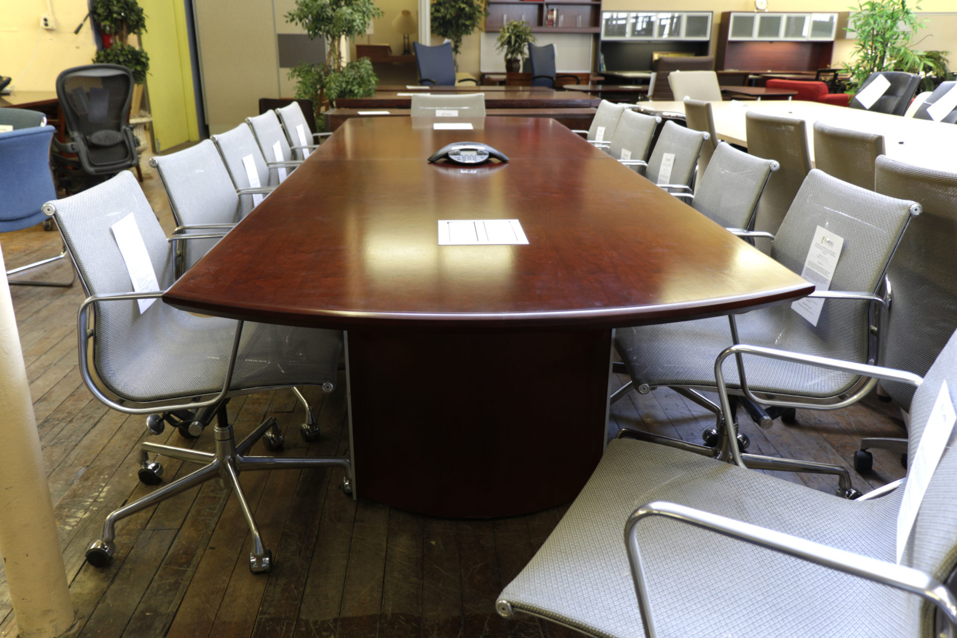 Kimball 12′ Cherry Conference Table with TeleData Forums