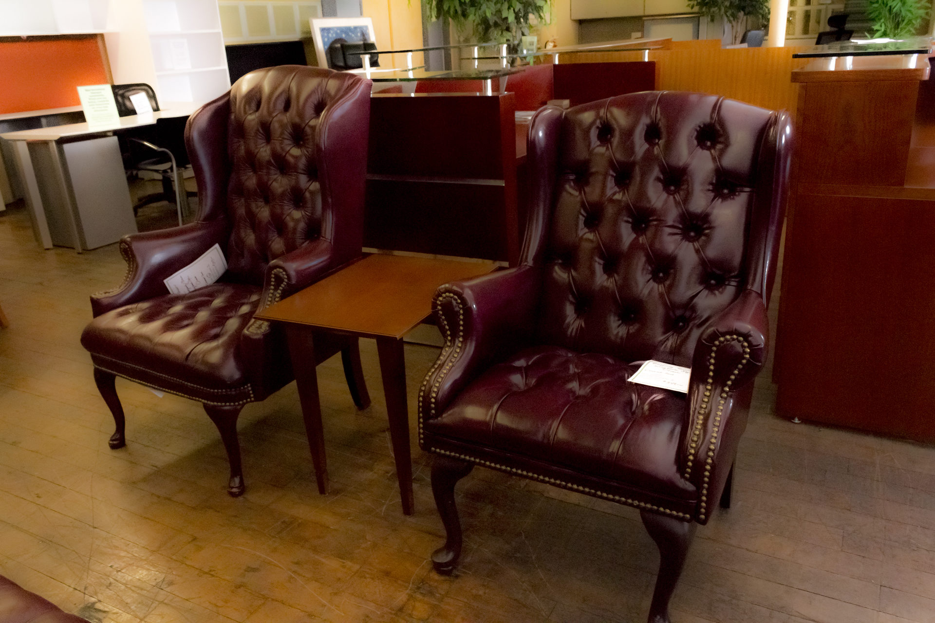 Burgundy Tufted Wingback Chairs