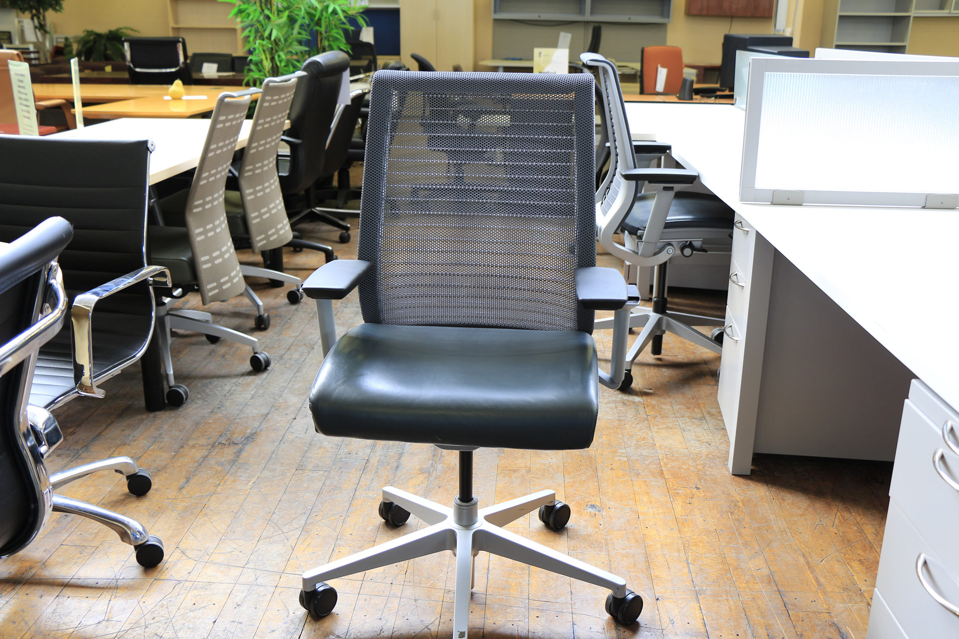 "Steelcase Think Chairs with ""Dusk"" Blue Leather Seats & Mesh Backs"