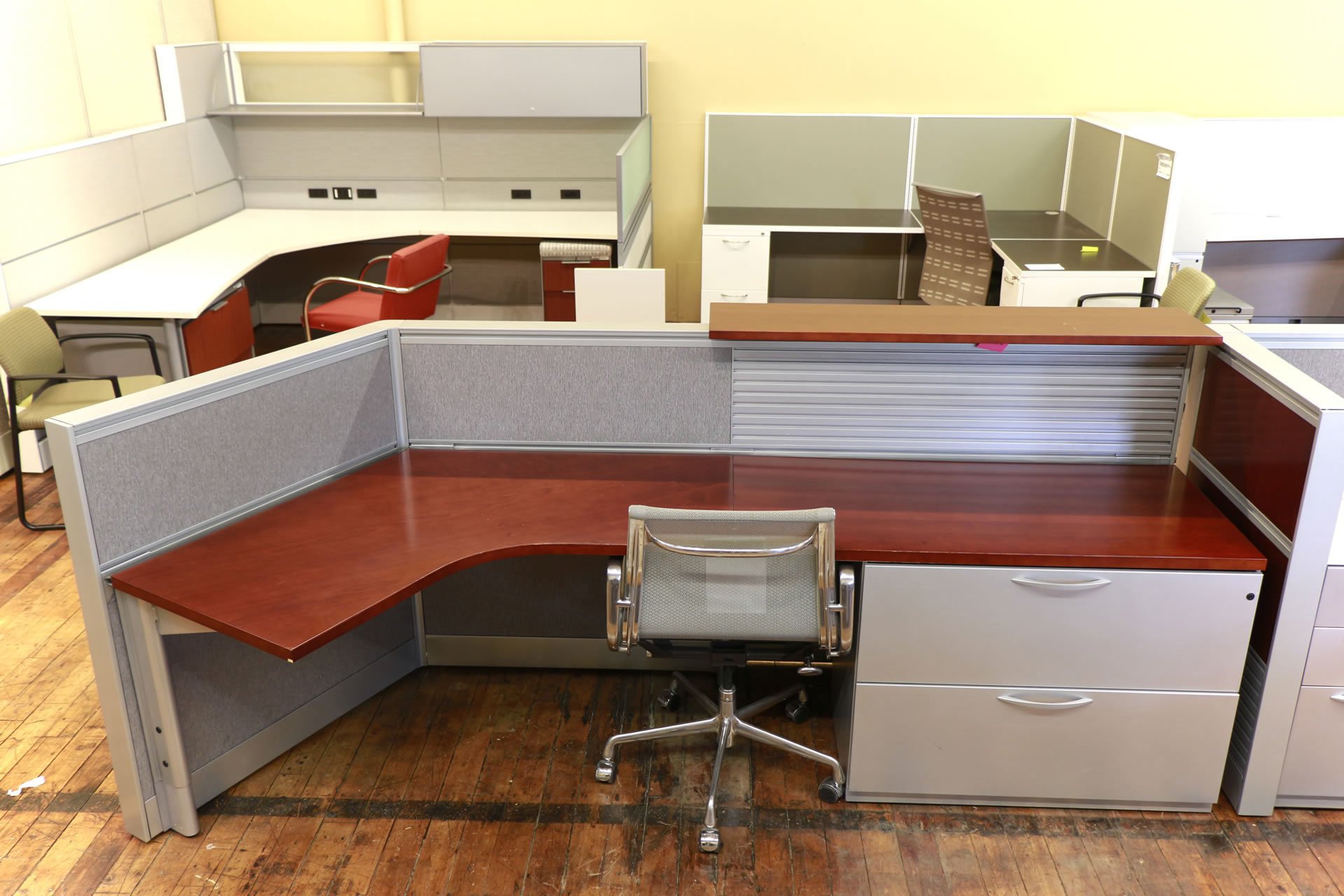 Kimball Cetra Cherry Reception Desk with Metallic Trim
