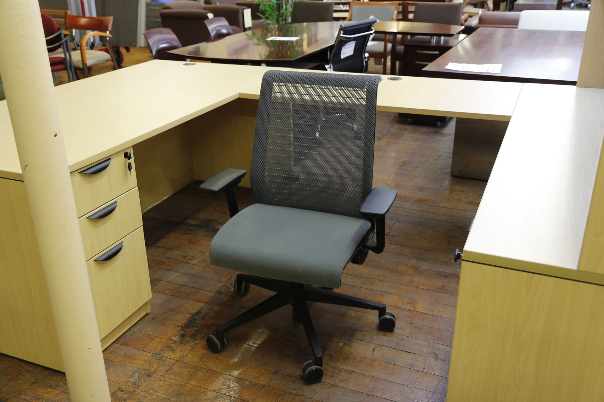 """Steelcase Think Chair with """"Dusk"""" Blue Fabric Seat & Mesh Back"""