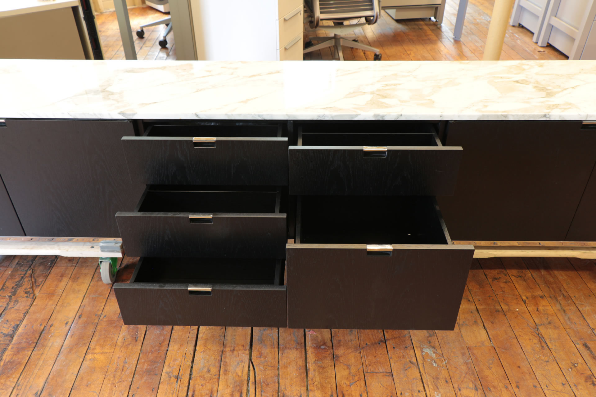 Florence Knoll Custom Credenzas – Marble Top & Ebonized Oak Finish