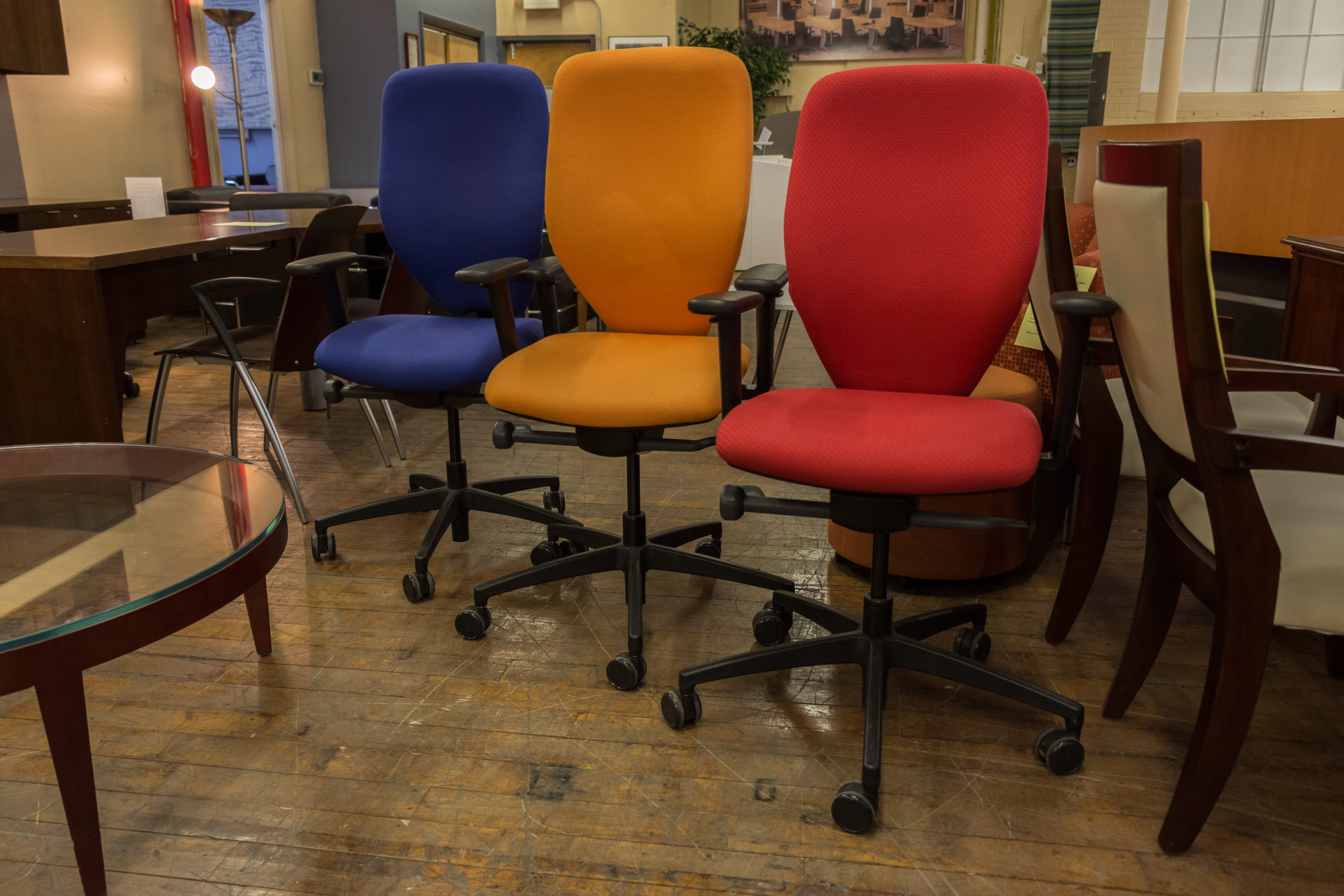 Boss Design Multi-function Task Chairs in Red, Blue, and Orange