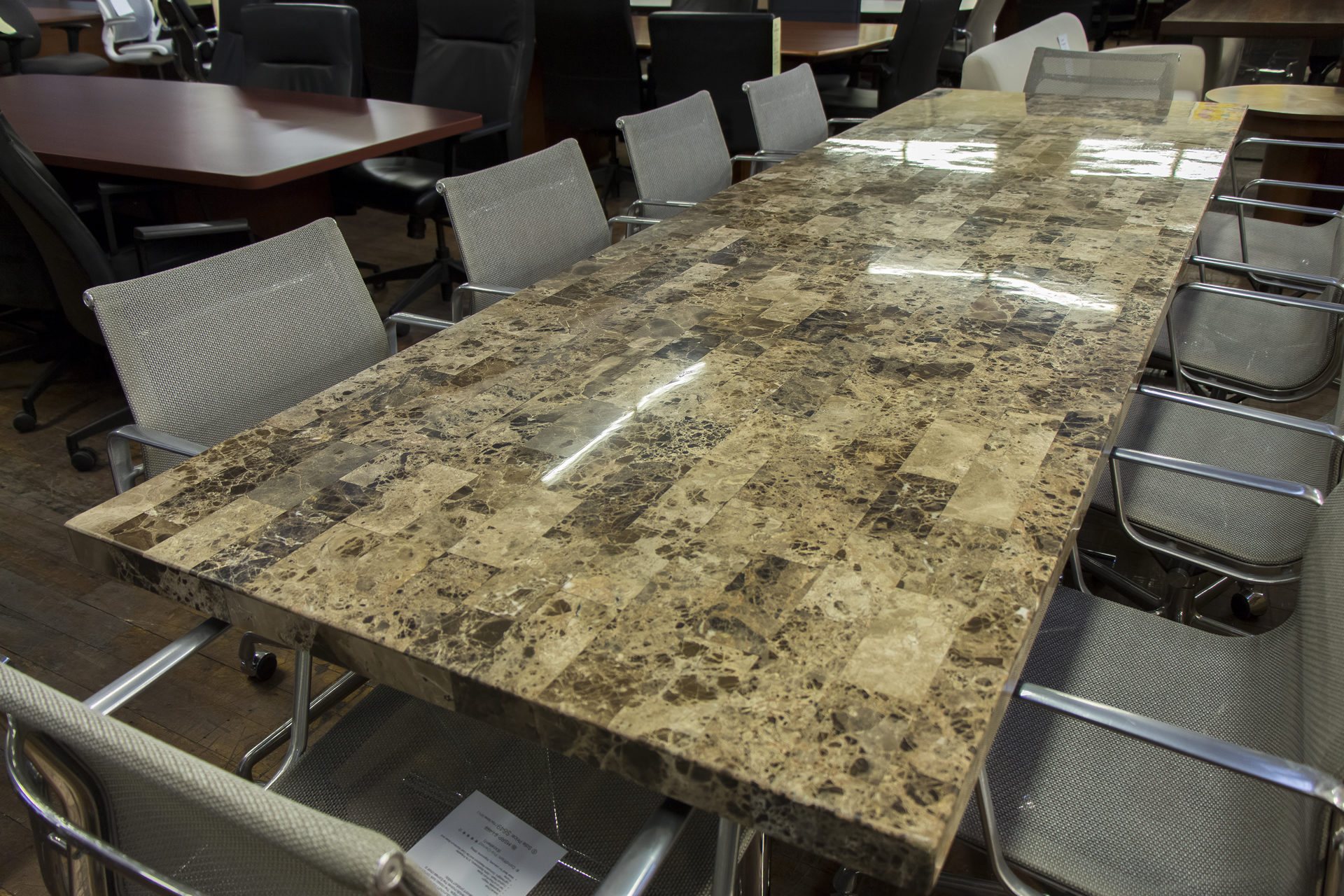 Custom 10′ Faux Mica Top Conference Tables with Chrome Base