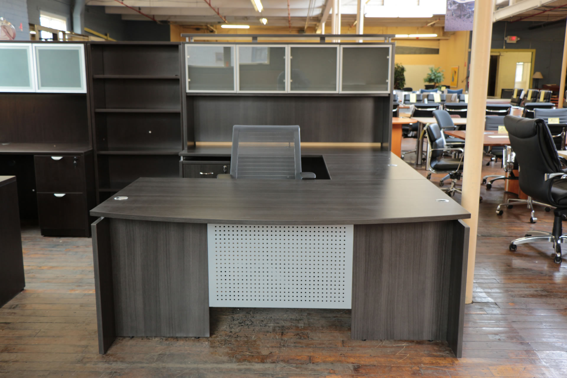 Warren Series New U-Shaped Gray Cherry Bow-Front Laminate Desk With Hutch And Glass Doors