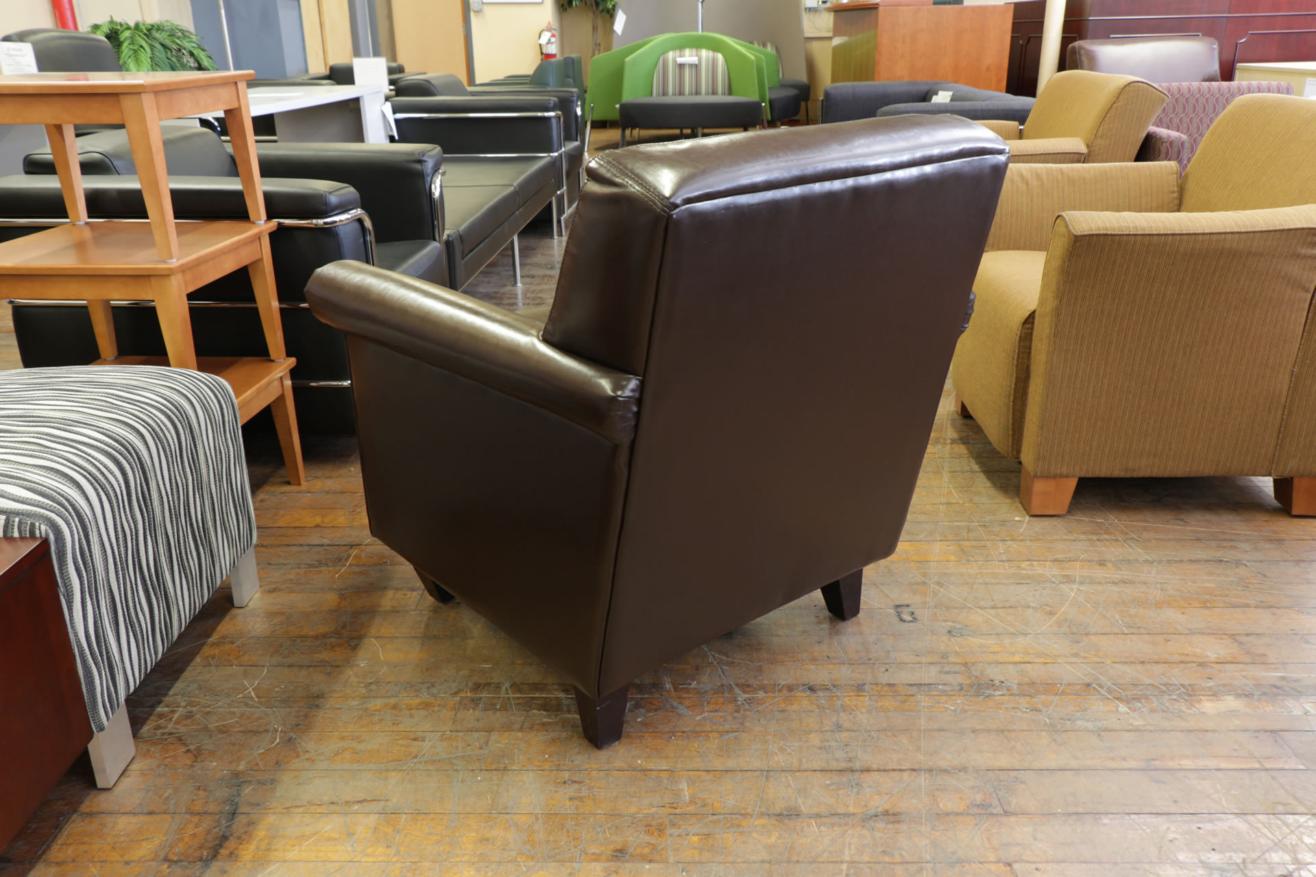Brown Leatherette Club Chairs