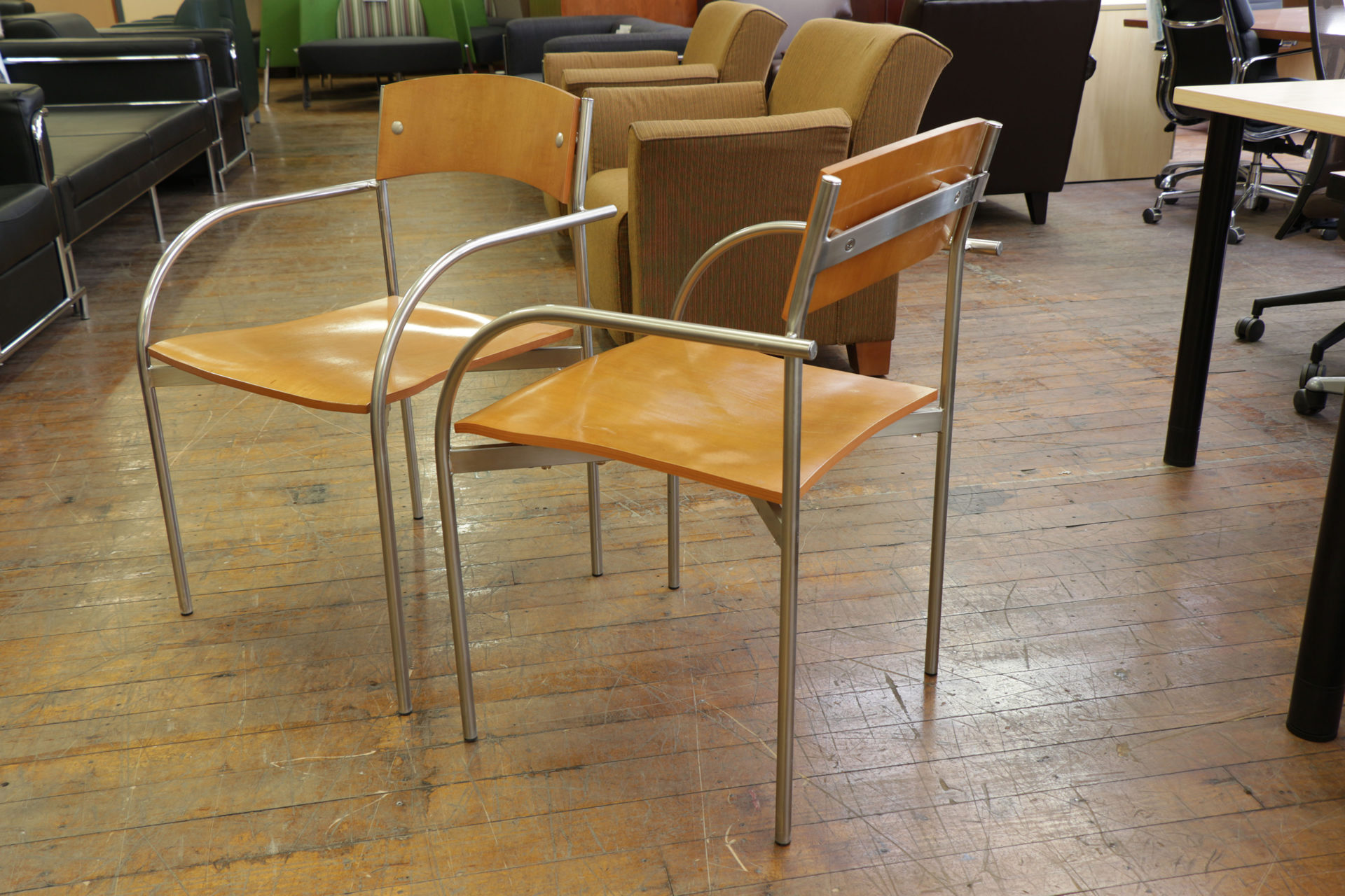 Bernhardt Vintage Chrome Arm Wood Stacking Chairs