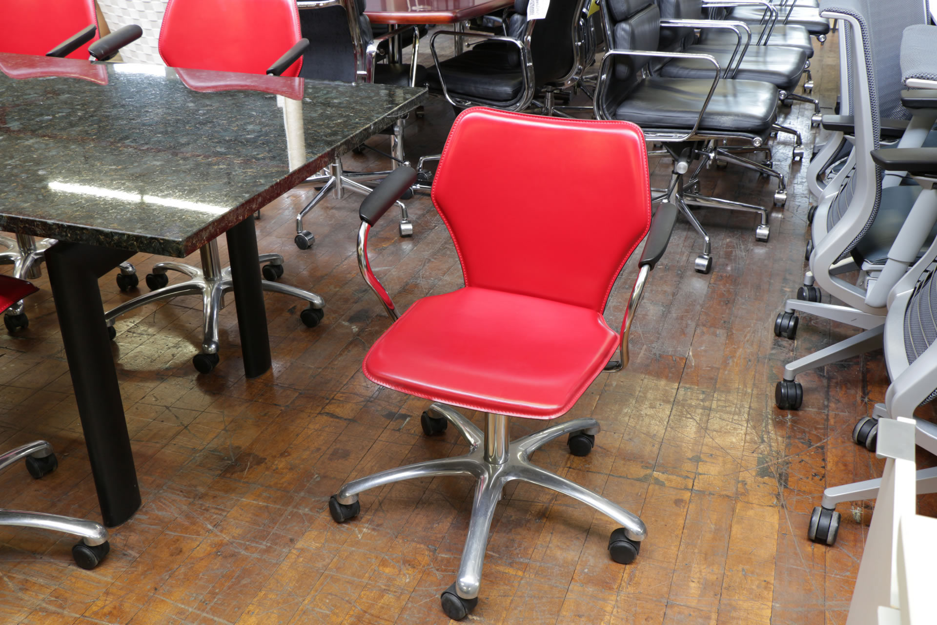 Italian Red Leather Swivel Chairs