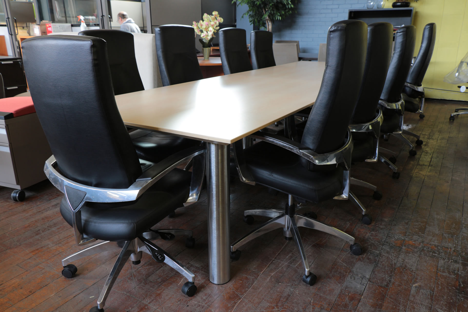 11′ Maple & Brushed Aluminum Conference Table