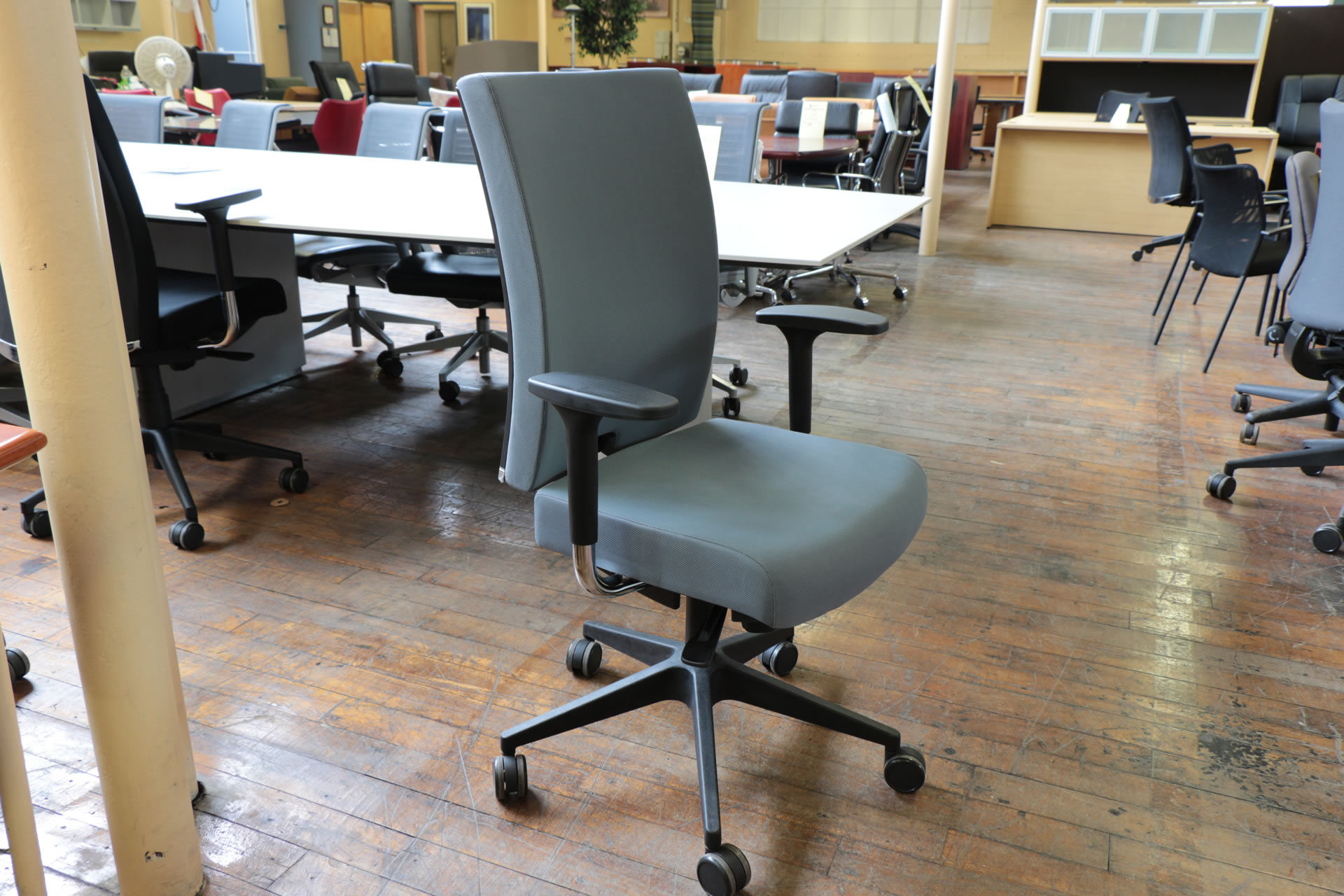 Source International AES Light Blue Mid Back Task Chairs