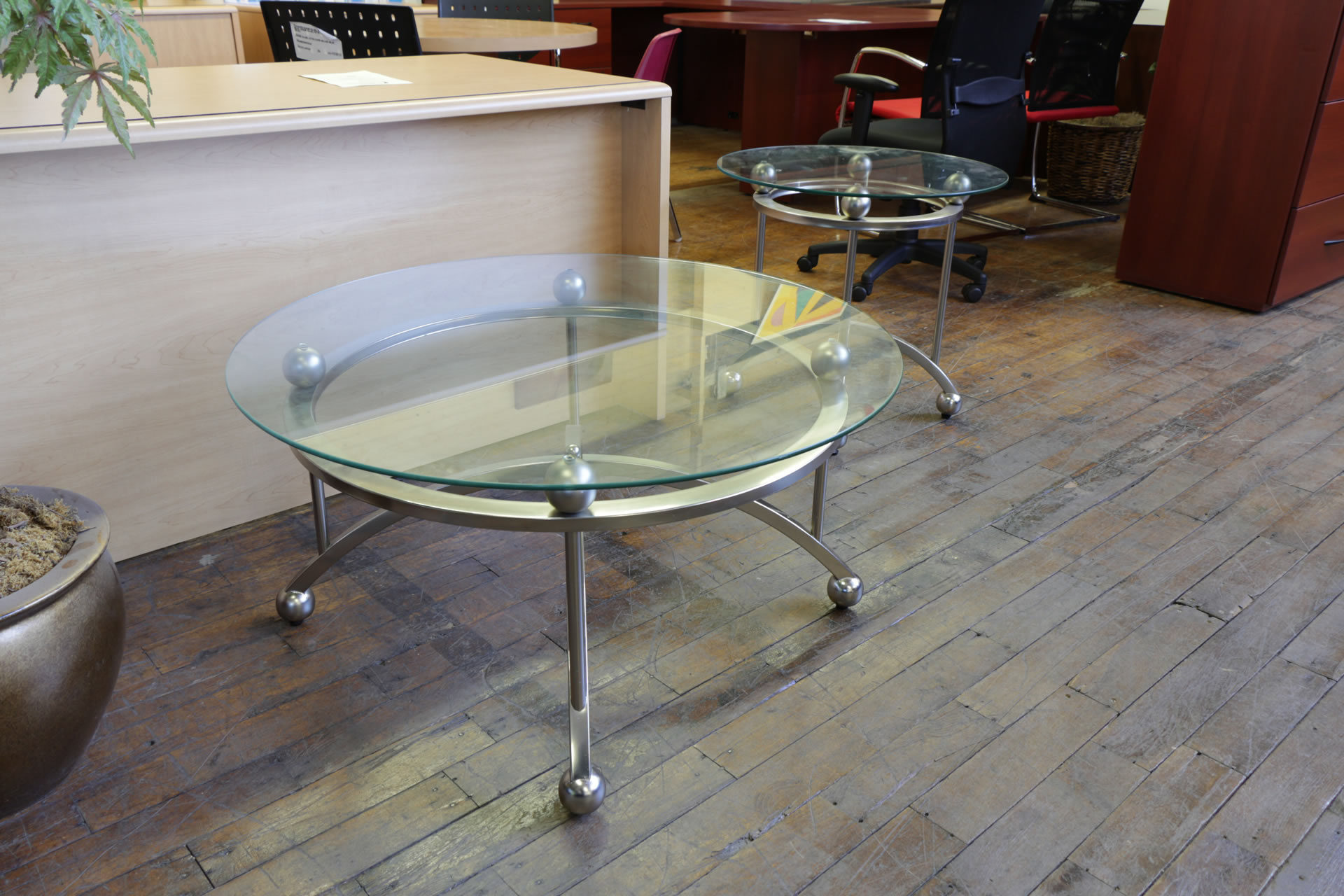 Elegant Round Glass Top Sofa Table & SideTable
