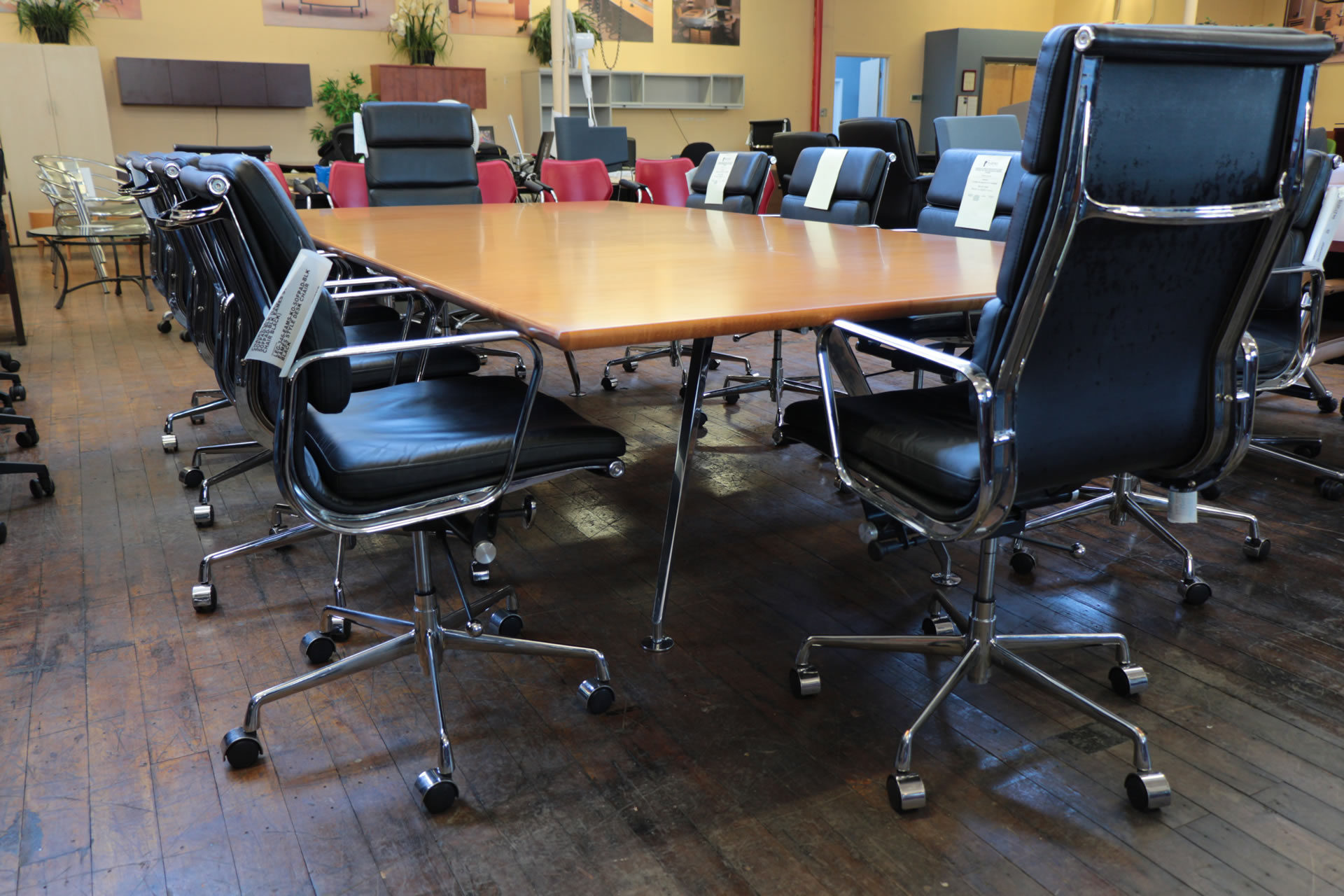 10′ x 5′ Bernhardt Parallax Conference Table Anigre & Chrome Base
