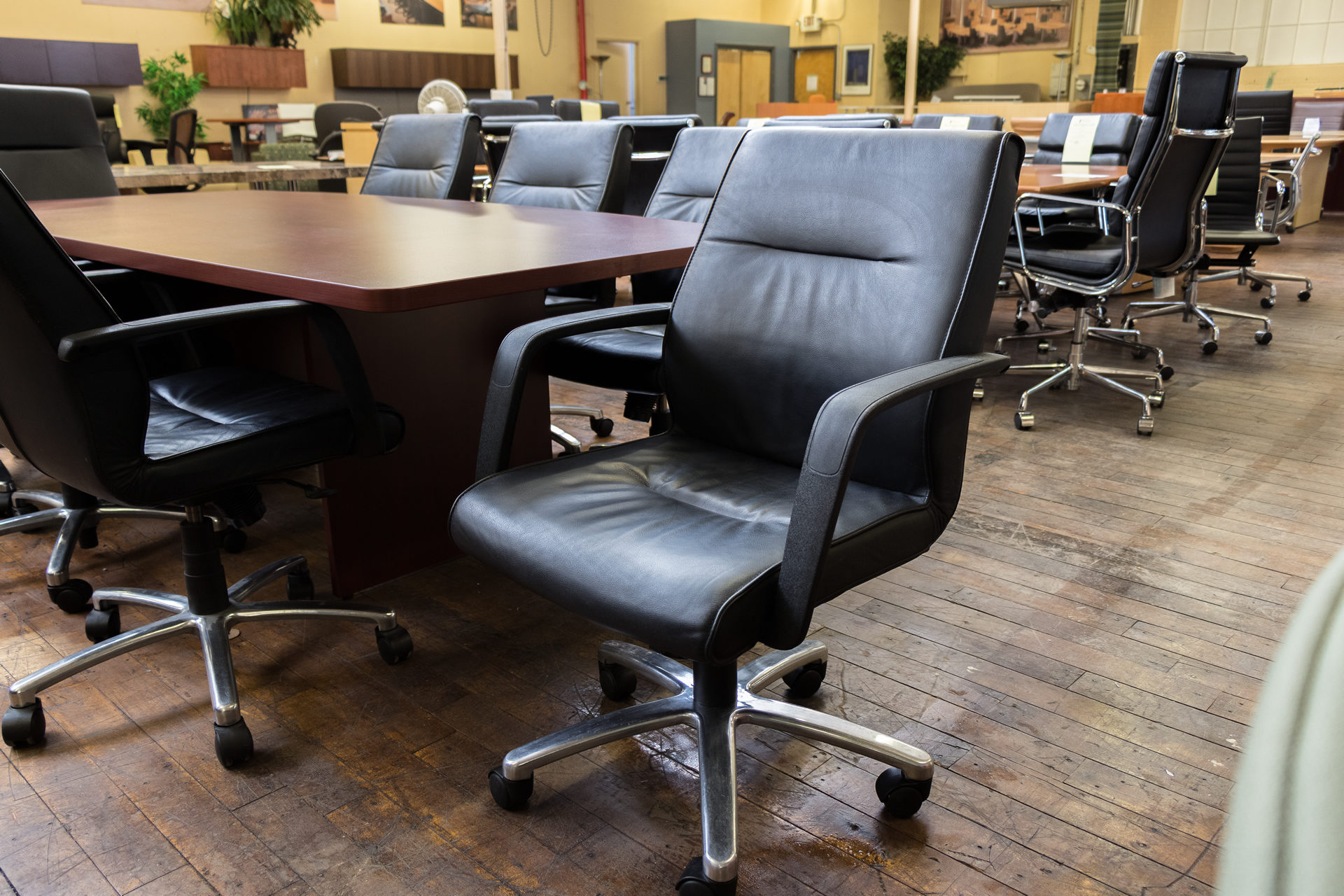 Via Seating Dyce Mid-Back Black Leather Conference Chairs