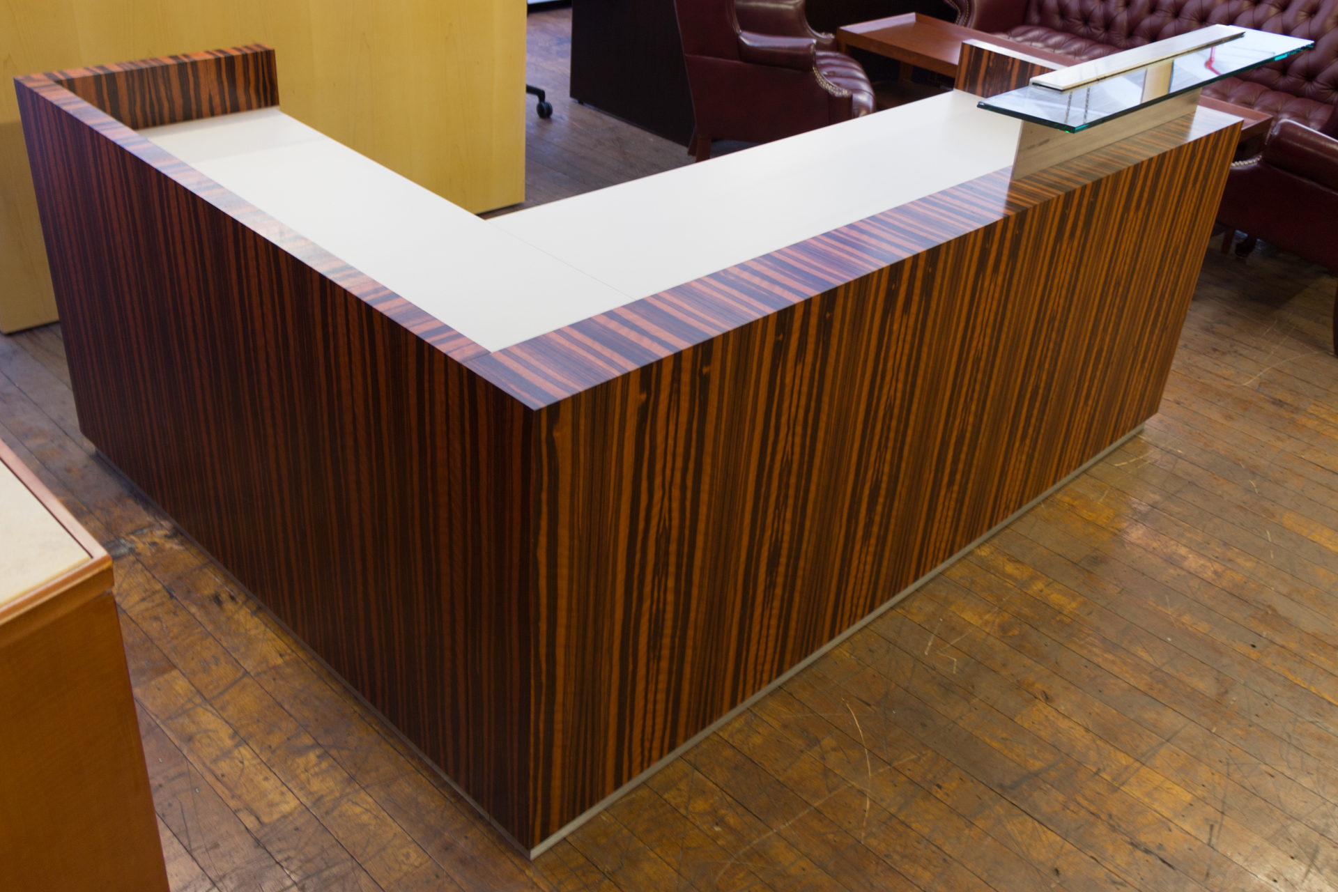 """Custom Low Profile Tiger Wood Reception Desk from the feature film """"Basic Math"""""""