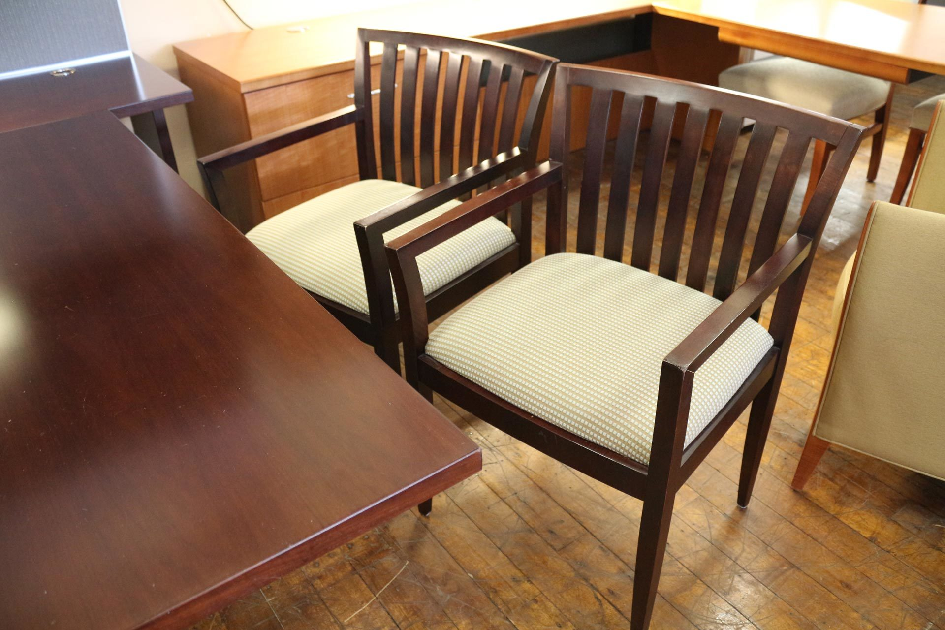 Used HBF Como espresso guest chairs with fabric seats