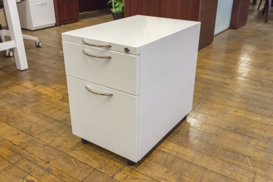 Peartree White Mobile Pedestal File Cabinet