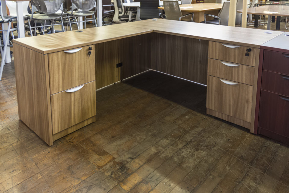 New Warren Series Autumn Walnut Laminate L-Desks