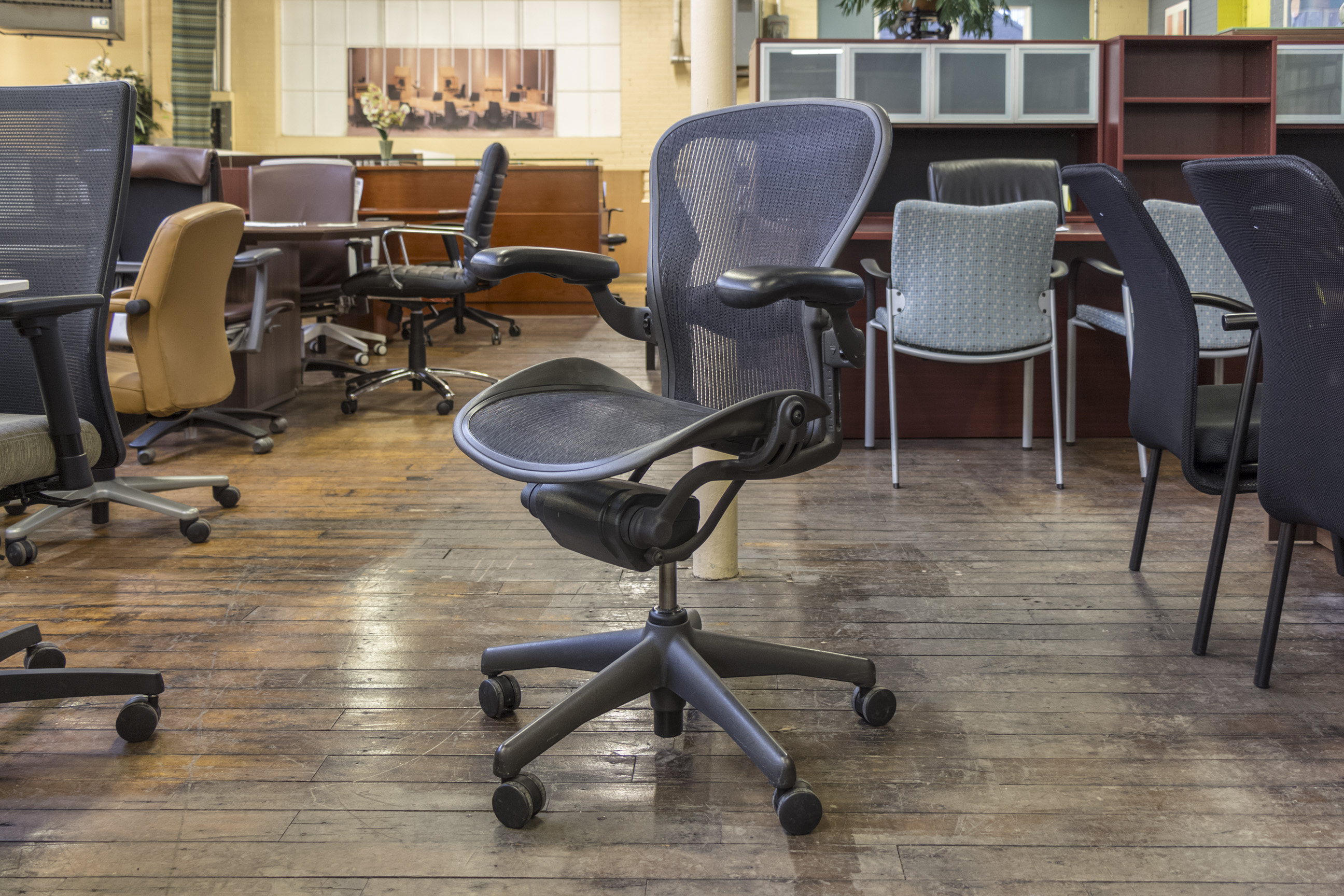 herman miller aeron single function chairs in size b peartree