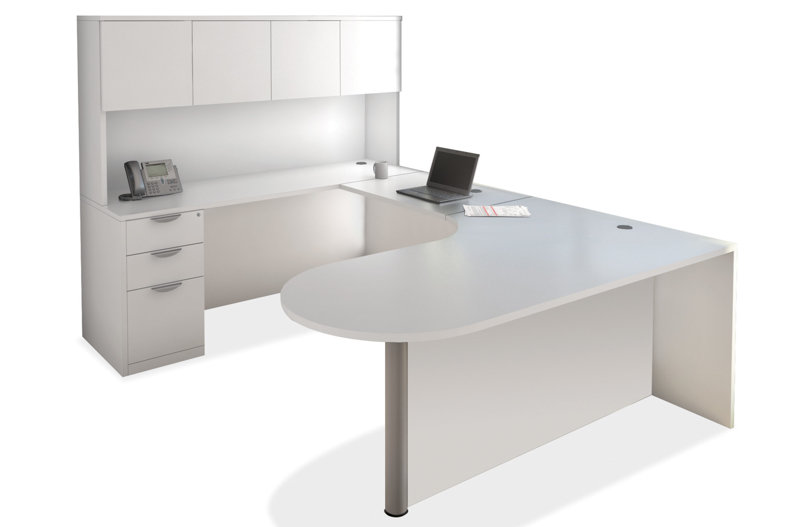 OfficeSource U-Shaped Bullet Laminate Desks with Overhead Hutch