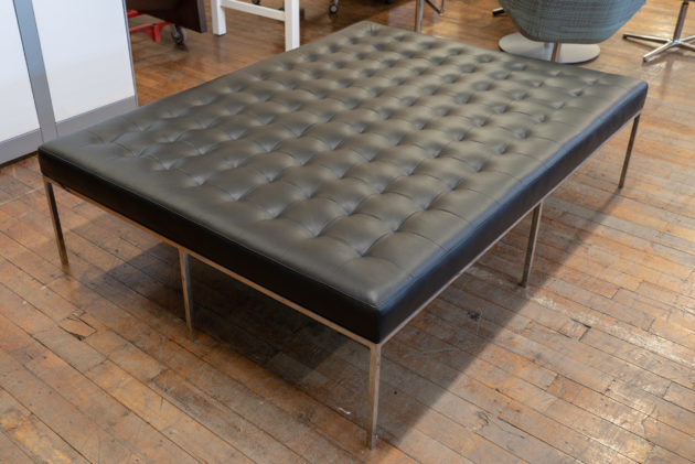 Custom Florence Knoll Style Leather Bench