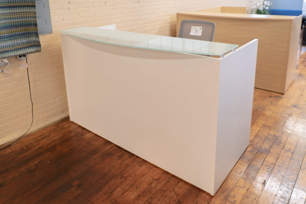 Peartree White Glass Top Reception Desks