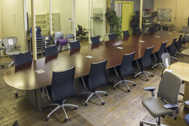 Custom Ply-Tech 30′ Cherry Veneer Boat-Shaped Conference Table
