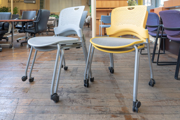 Herman Miller Caper Flexnet Mesh Armless Mobile Stacking Chairs