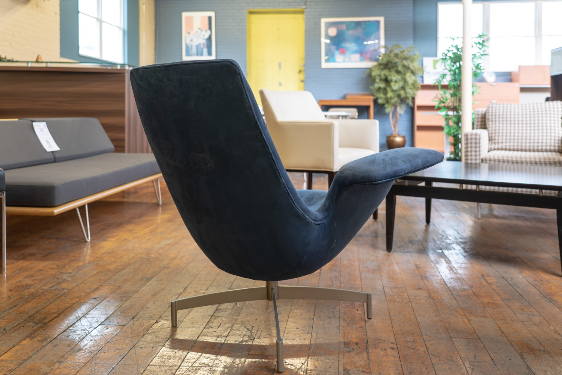hbf-dialogue-suede-swivel-lounge-chairs
