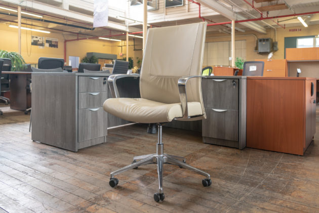 Stylex Insight Decora Mid-Back Leather Executive Chairs - Pebble